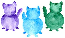 Set of watercolor cats. Hand painted purple blue and green silhouette isolated on white background royalty free illustration