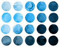 Set of watercolor cerulean, cobalt blue, ultramarine circles. Watercolour round elements for logo design, banners, posters. Royalty Free Stock Images