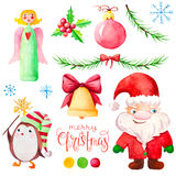 Set with watercolor Christmas character. Stock Photo