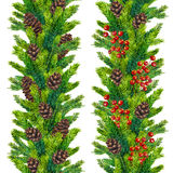 Set of watercolor christmas seamless borders  fir branches. Set of watercolor christmas seamless borders of fir branches, cones and red berries, watercolour hand Royalty Free Stock Image