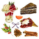 Set of watercolor Christmas sweet dessert elements Royalty Free Stock Image