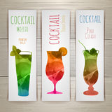 Set of watercolor cocktail banners Stock Image