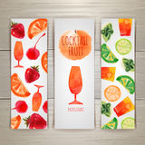 Set of watercolor cocktail banners Stock Photos