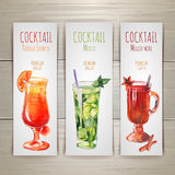 Set of watercolor cocktail banners Stock Images