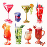 Set of watercolor cocktails Royalty Free Stock Images