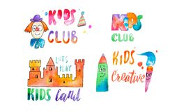 Set of watercolor colorful emblems with calligraphic letterings for kids club.  royalty free illustration