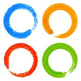 Set of Watercolor Colorful Grunge Circle Stains Stock Image