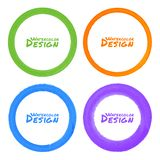 Set of Watercolor Colorful Grunge Circle Stains Stock Photos