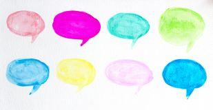 Set of watercolor colorful speech bubbles or conversation clouds, Hand drawn speech bubbles watercolor brush illustration. On white paper stock illustration
