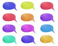 Set of watercolor colorful speech bubbles or conversation clouds. Isolated on white background stock illustration