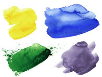 Set of watercolor colorful spots stock illustration