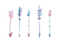 Set of watercolor colorfull arrows.  Royalty Free Stock Image