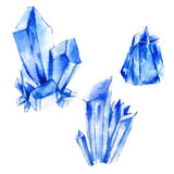 Set of watercolor crystals, natural decoration crystals collecti Royalty Free Stock Photo