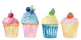 Set of watercolor cupcakes with different ornaments of berries and spicy herbs. raster illustration for design stock illustration