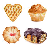 Set of watercolor cupcakes hand drawn illustration on white background. Stock Images