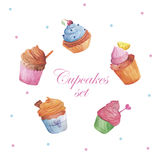 Set of watercolor cupcakes. Hand drawn retro style Stock Photography