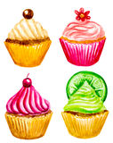 Set of watercolor cupcakes Stock Image