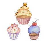 Set of watercolor cupcakes Stock Photos