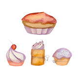 Set of watercolor cupcakes. For your creativity Stock Images