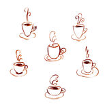 Set of watercolor cups of coffee isolated on white background. Sketch illustration royalty free illustration