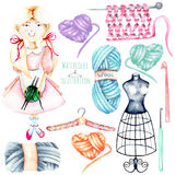 Set of watercolor cute Girl-needlewoman and knitting elements: yarn, knitting needles and crochet hooks Royalty Free Stock Photo