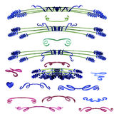 Set of watercolor design elements - lavender and ribbons Royalty Free Stock Images