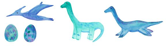 Set of watercolor dinosaurs on a white background. the three three dinosaurs - pterodactyl, diplodocus and blue eggs. raster