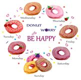 Set of watercolor donuts with an inscription-pun Donut worry be happy. Vector illustration. royalty free illustration