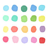Set watercolor dos. Colorful watercolor blobs. Round shape background Stock Image