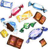 Set of watercolor drawing candy Stock Photos