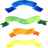 Set of watercolor drawing ribbons Stock Photo