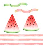 A set of watercolor drawings, slices of red watermelons, pink stripes and a banner Royalty Free Stock Photo
