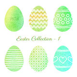 Set of watercolor Easter elements. Set of colorful Easter eggs isolated on white background. Hand painted watercolor vector design elements for background Royalty Free Stock Images