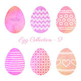 Set of watercolor Easter elements. Set of colorful Easter eggs isolated on white background. Hand painted watercolor vector design elements for background Stock Photo