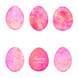 Set of watercolor eggs. Easter design elements. Stock Photography