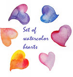 Set of watercolor elements heart Stock Photography