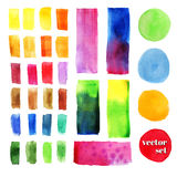 Set of watercolor elements, isolated on white, for trendy design of your website, business project, for creative decoration. Vecto. Set of watercolor elements Royalty Free Stock Photo