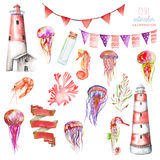 Set of watercolor elements to the marine theme Royalty Free Stock Image