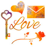Set of watercolor elements for Valentine`s day. Stock Images