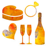 Set of watercolor elements for Valentine`s day or for wedding. Stock Photography