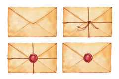 Set watercolor envelope. Set old envelope associated cord and sealed with wax stamp - painted in watercolor royalty free illustration
