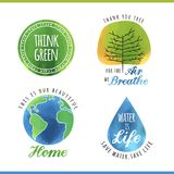 Set of watercolor environmental labels Royalty Free Stock Images