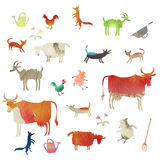 Set of watercolor farm animals. Set of funny watercolor farm animals royalty free illustration