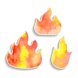Set of watercolor fire icons. For design Stock Images