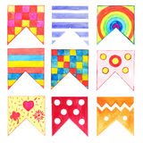 Set of 9 watercolor flags isolated on white background. Detail for party flags garlands Royalty Free Stock Photo