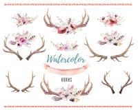 Set of watercolor floral boho antler print. western bohemian de vector illustration