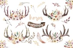 Set of watercolor floral boho antler print. western bohemian decoration. Hand drawn vintage deer horns with flowers vector illustration
