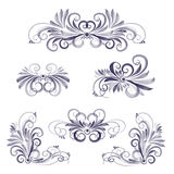Set of watercolor floral disign elements Stock Photo