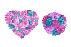 Set of watercolor floral elements - heart and balloon filled with lilac, turquoise and burgundy flowers. Isolated over white