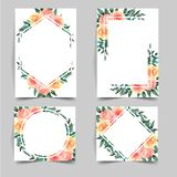 Set of watercolor flower template for wedding invitation royalty free illustration
